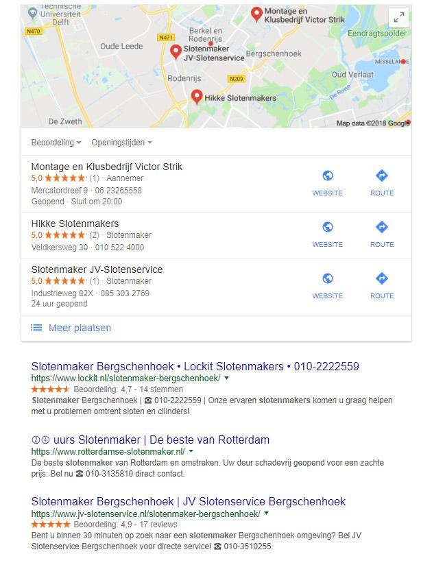 lokale zoekresultaten desktop
