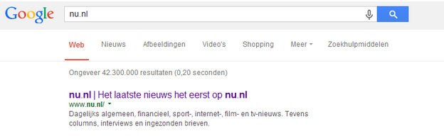 Google meta beschrijving nu.nl