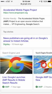 AMP weergave in de zoekresultaten