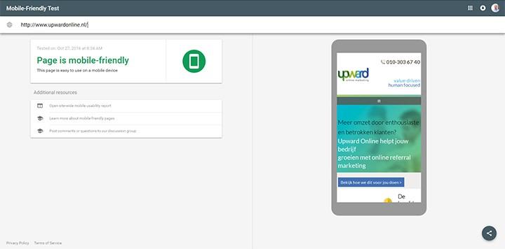 resultaat mobielvriendelijkheidscheck Google