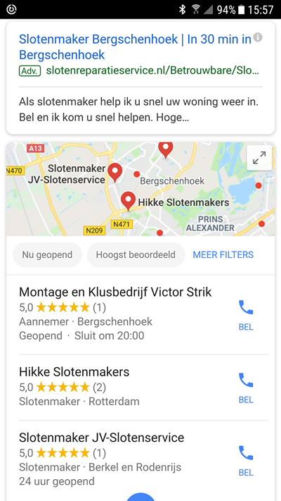 lokale zoekresultaten mobiel