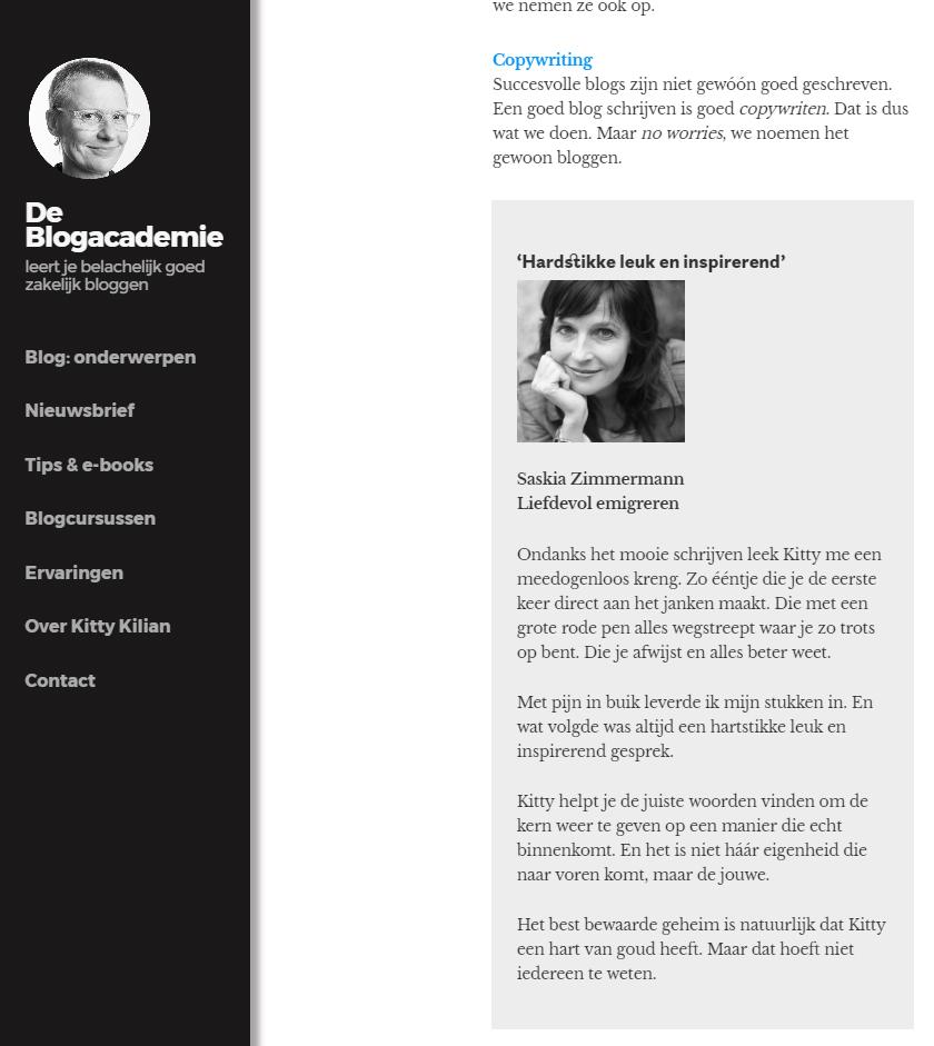 Reviews op de salespagina van De Blogacademie